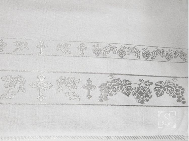 Крыжма велюровая жаккардовая с вышивкой  Ангел-3 70х140см серебро