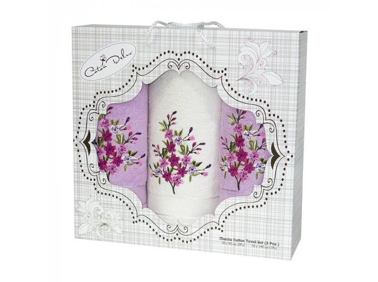 Набор из 3-х махровых полотенец Gursan. Cotton Malina light Violet