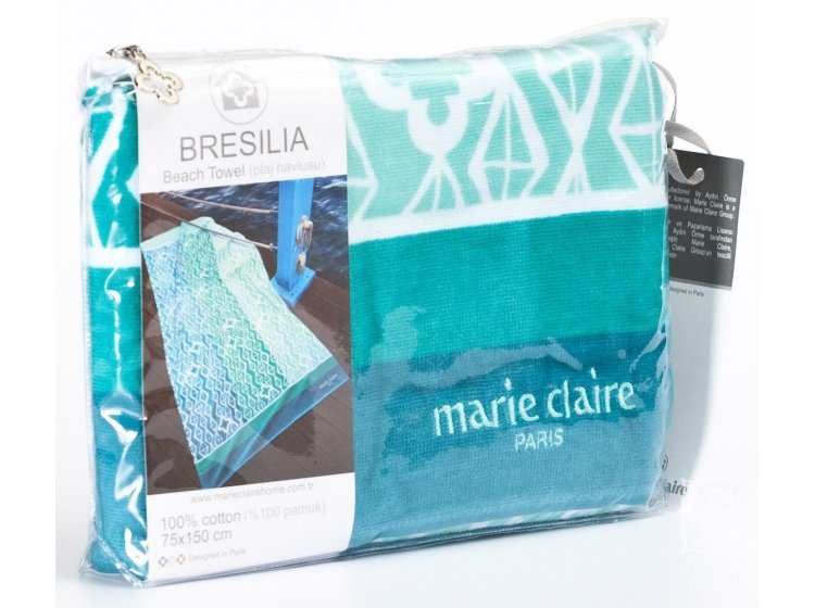 Пляжное полотенце Marie claire. Bresila yesil, размер 75х150 см упаковка