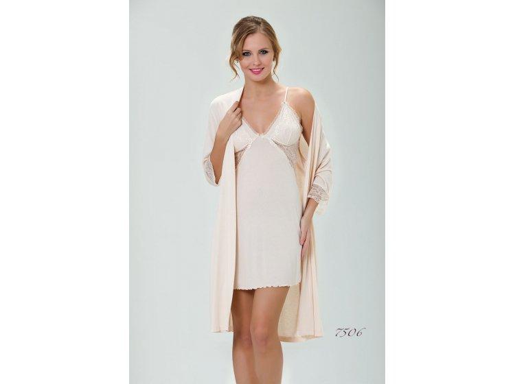 Комплект ночная сорочка с халатом Mariposa. Модель 7506 Chamhagne