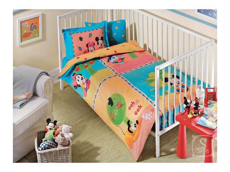 Постельное белье в детскую кроватку TAC. Mickey Baby Garden, голубого цвета