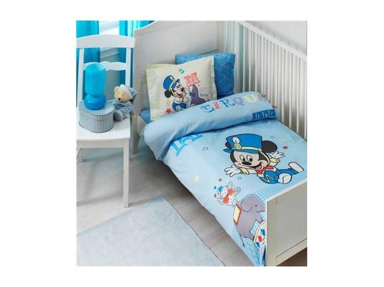 Постельное белье в детскую кроватку ТАС. Mickey Cirque, синего цвета