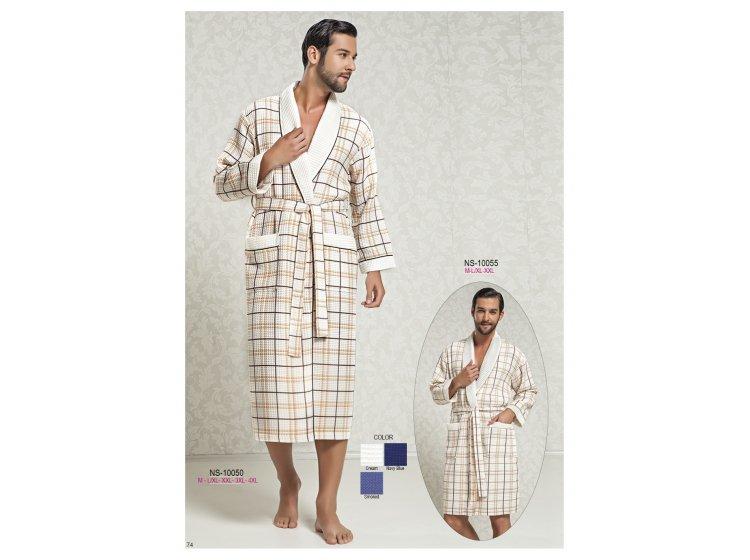 Мужской вафельный халат Nusa, модель 10050 кремовый