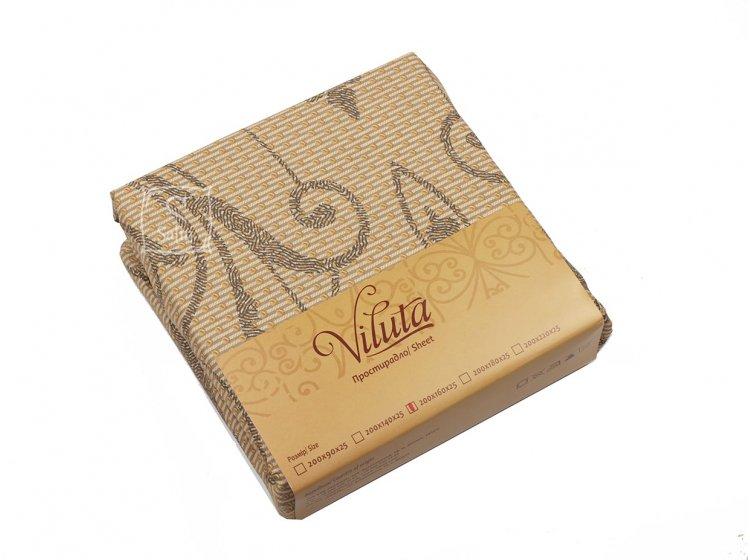 Простынь на резинке Viluta. Ранфорс с кофейным узором