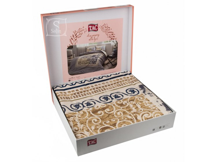 Постельное белье TAC. Sateen Angelo V01 Lacivert в упаковке