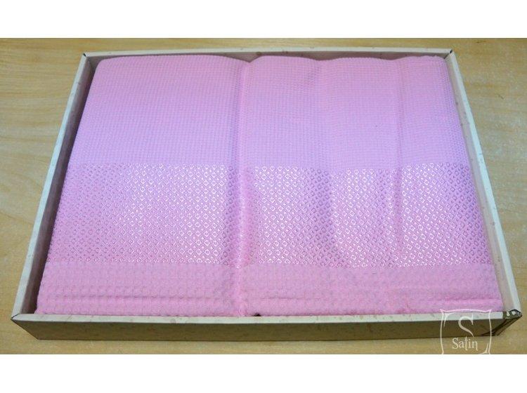 Простынь вафельная Mariposa розового цвета
