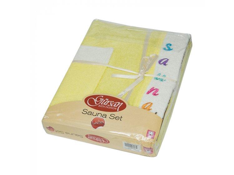 Набор для сауны женский Gursan Cotton желтый, 3 предмета
