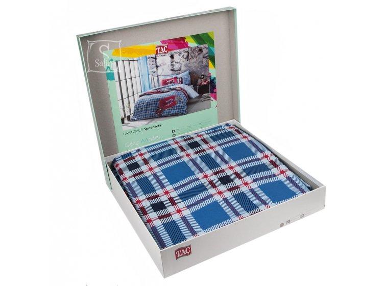 Подростковое постельное белье TAC. Ranforce Route V04 Mavi в упаковке