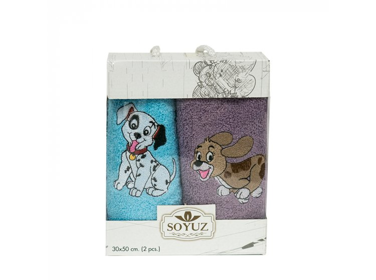 Новогодний набор из 2х махровых полотенец Gulcan. Собачки 02