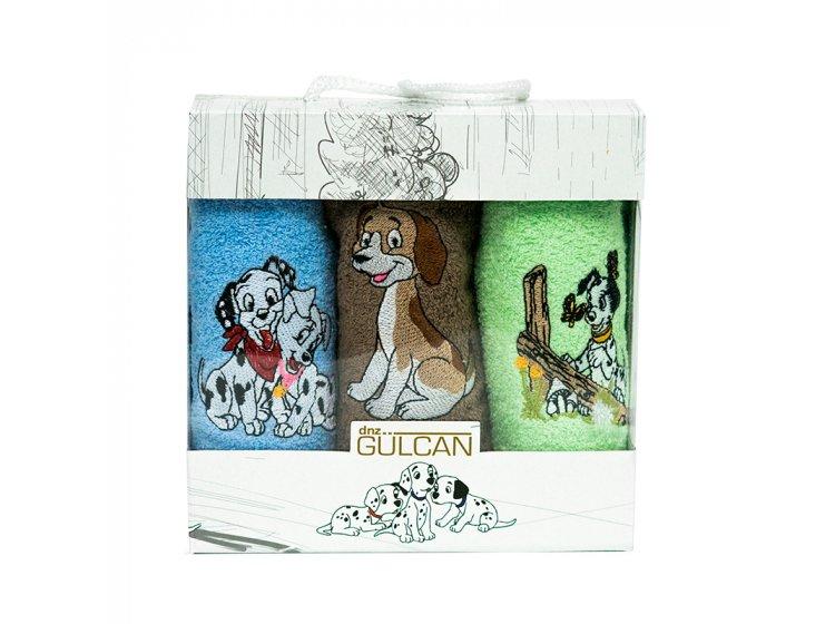 Новогодний набор из 3х махровых полотенец Gulcan. Собачки 01