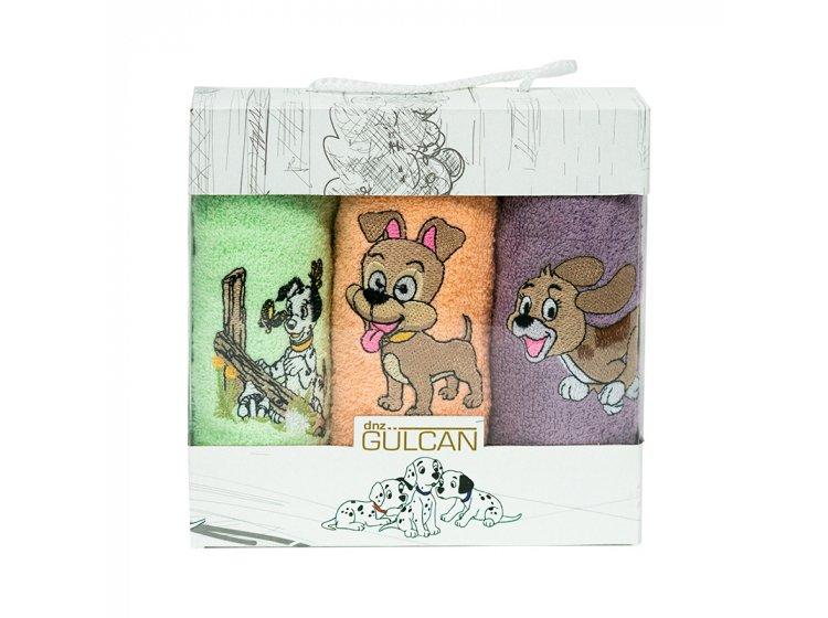 Новогодний набор из 3х махровых полотенец Gulcan. Собачки 03