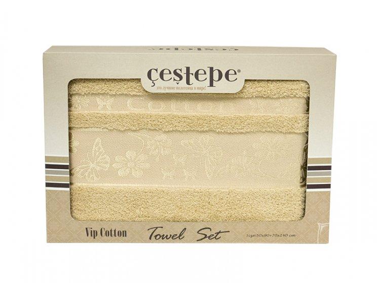 Набор махровых полотенец Cestepe. Cotton Kelebek светло-бежевый