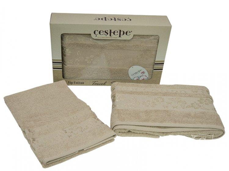 Набор махровых полотенец Cestepe. Cotton Kelebek темно-бежевый