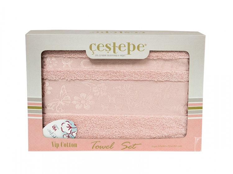 Набор махровых полотенец Cestepe. Cotton Kelebek розовый