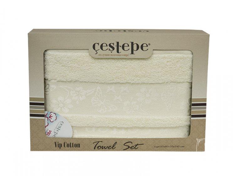 Набор махровых полотенец Cestepe. Cotton Kelebek белый