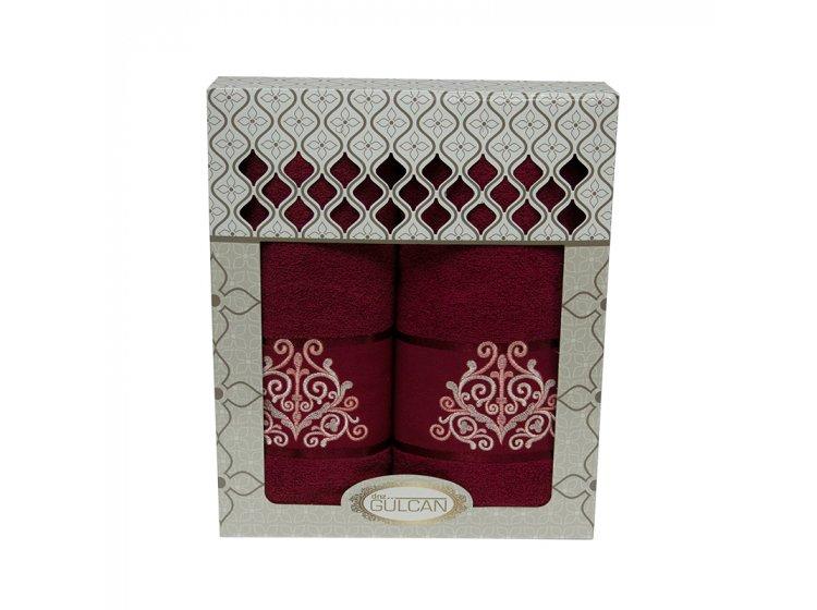 Набор махровых полотенец Gulcan. Cotton Venz бордовый