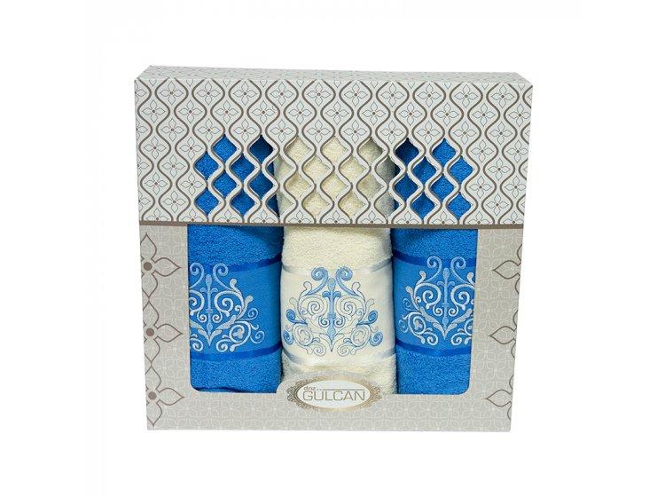 Набор из 3-х махровых полотенец Gulcan. Cotton Venz голубой