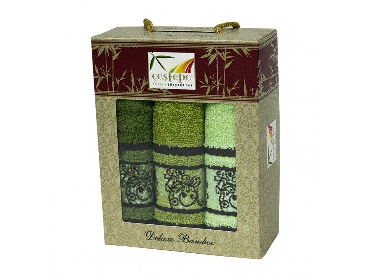 Набор из 3-х махровых кухонных полотенец Cestepe. Bamboo Green Ornament