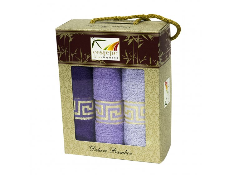 Набор из 3-х махровых кухонных полотенец Cestepe. Bamboo Violet Greek