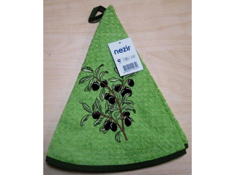 Махровое полотенце Mariposa. Маслины ветка зеленый 004, круглое