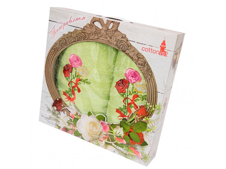 Махровое полотенце Yagmur. Buket 2 зеленый, 2 предмета
