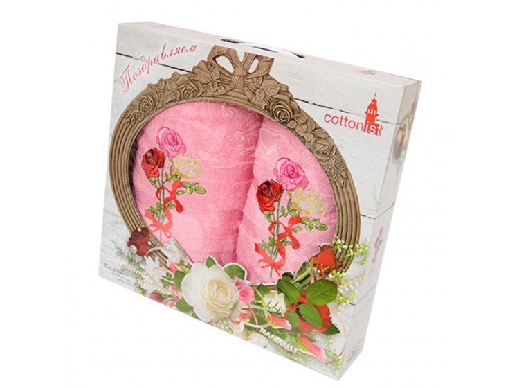 Махровое полотенце Yagmur. Buket 2 розовый, 2 предмета