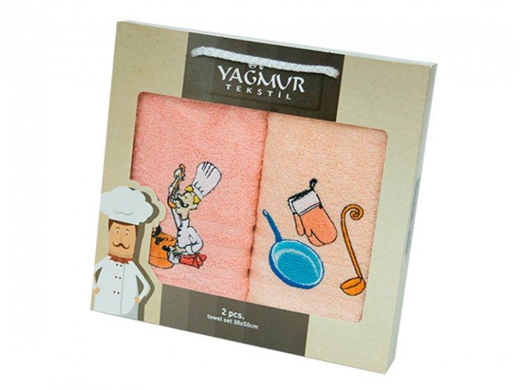 Набор салфеток для кухни Yagmur. Повар персиковый 30х50 см, 2 предмета