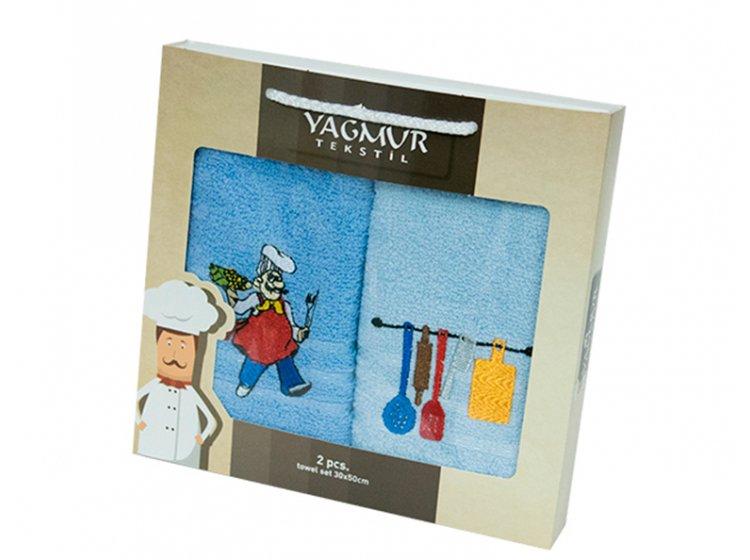 Набор салфеток для кухни Yagmur. Повар синий 30х50 см, 2 предмета