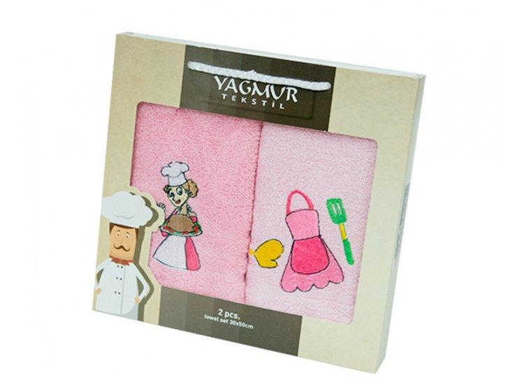 Набор салфеток для кухни Yagmur. Повар розовый 30х50 см, 2 предмета