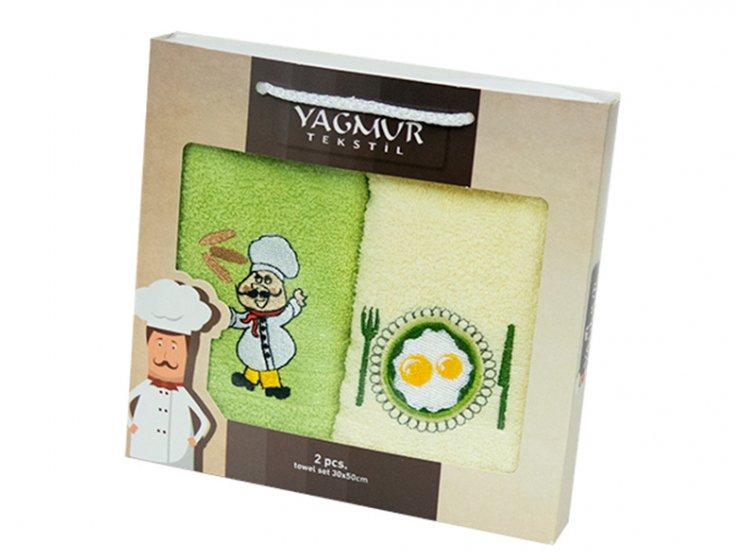 Набор салфеток для кухни Yagmur. Повар зеленый 30х50 см, 2 предмета