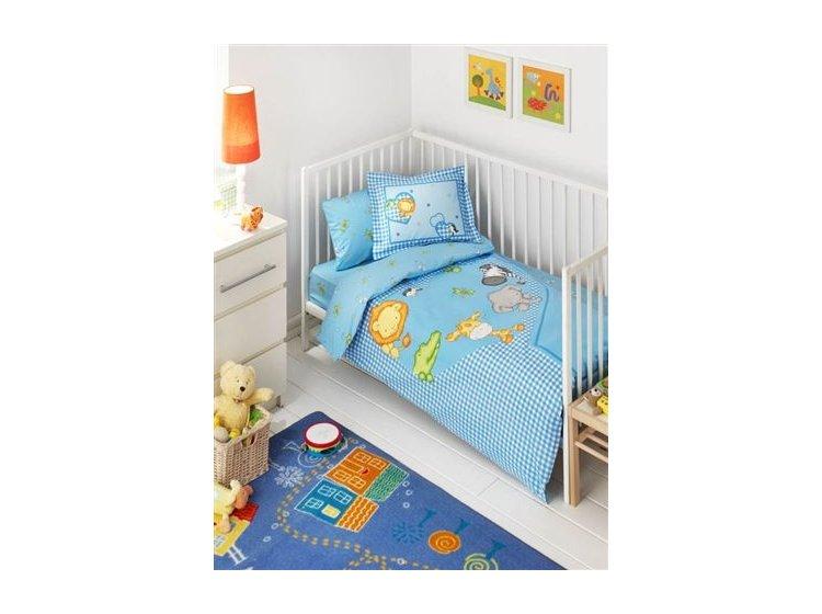 Постельное белье в детскую кроватку ТАС. Zooland, голубой