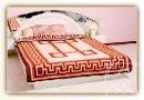 Одеяло Vladi бело-терракотовое, новозеландская шерсть, жаккард